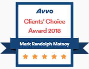 Avvo Client's Choice Award 2018 - Matney Law PLLC - Hampton Roads area of Virginia